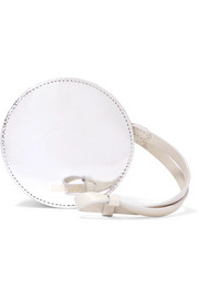 Circle mirrored and smooth leather pouch