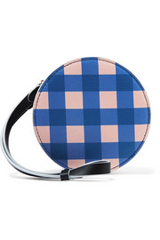 Circle gingham leather pouch