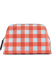Gingham textured-leather pouch