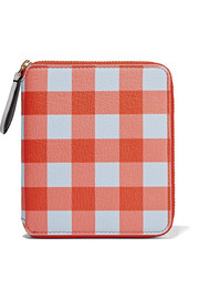 Small gingham textured-leather wallet