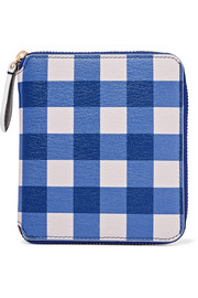 Medium gingham textured-leather wallet
