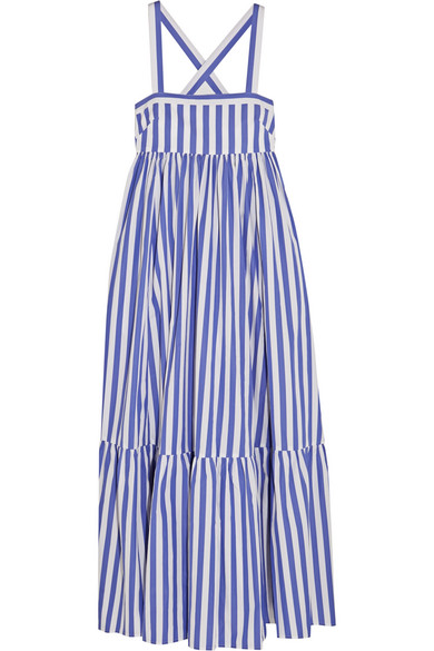 J.Crew - Thomas Mason Honduras Striped Cotton-poplin Maxi Dress - Blue