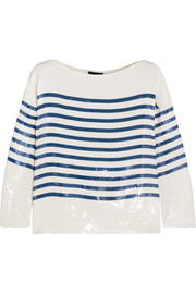 Deckhand striped sequined silk-satin top