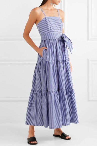 3c6553473 J.Crew | Garratt tiered striped cotton-poplin midi dress | NET-A ...