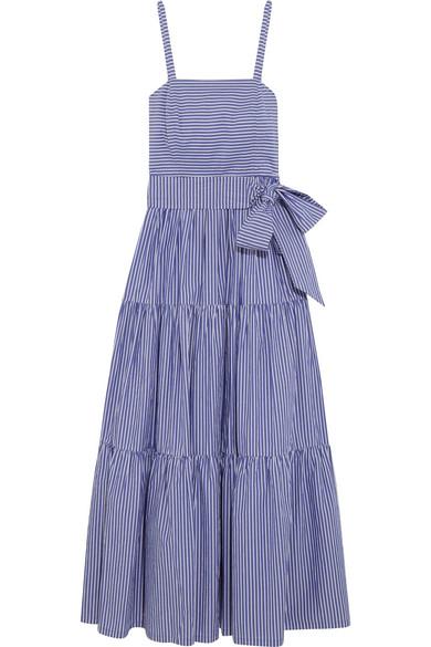 J.Crew - Garratt Tiered Striped Cotton-poplin Midi Dress - Blue