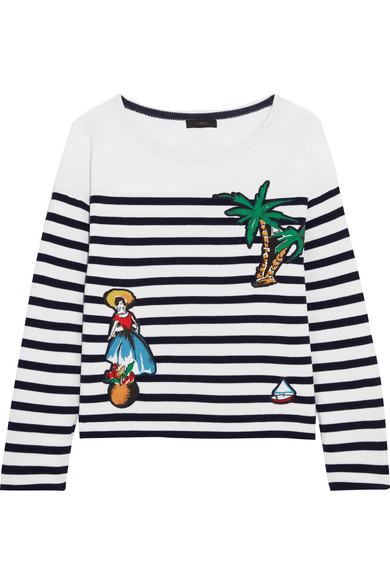 J.Crew - Coco Cabana Appliquéd Striped Cotton-jersey Top - White