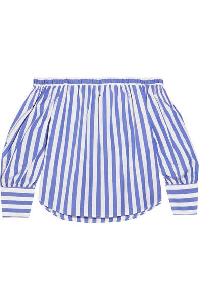 J.Crew - Thomas Mason Mickey Off-the-shoulder Striped Cotton-poplin Blouse - Blue