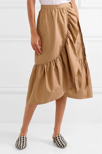 J Crew Ruffled Cotton Poplin Wrap Skirt Net A Porter Com