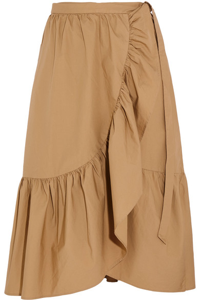 J.Crew - Ruffled Cotton-poplin Wrap Skirt - Beige