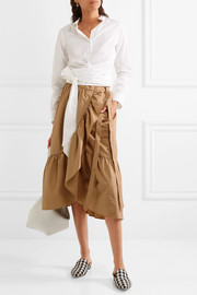 J.Crew Ruffled cotton-poplin wrap skirt