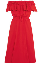 Poppy off-the-shoulder ruffled cotton and linen-blend dress