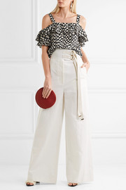 J.Crew Jaipur cold-shoulder polka-dot silk top