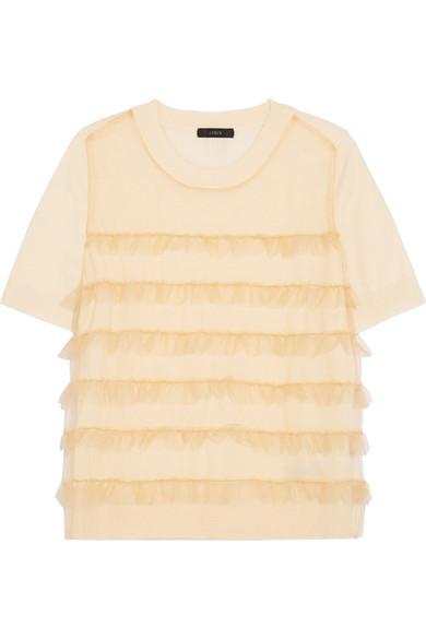 J.Crew - Waverly Ruffled Tulle-paneled Merino Wool T-shirt - Cream