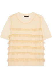 J.Crew Waverly ruffled tulle-paneled merino wool T-shirt