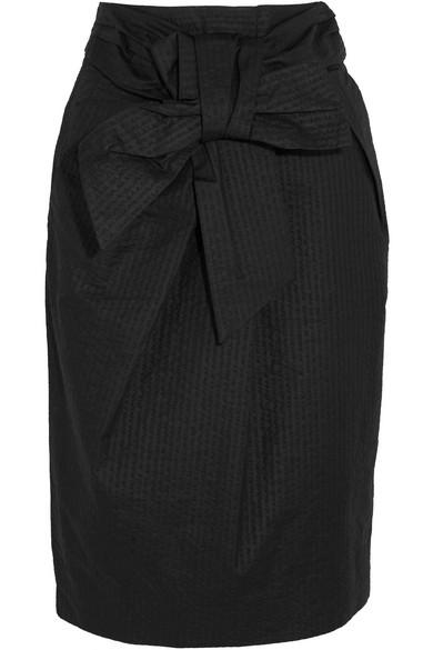 J.Crew - Tie-front Cotton-seersucker Skirt - Black