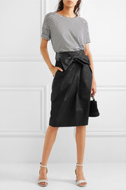 J.Crew Tie-front cotton-seersucker skirt