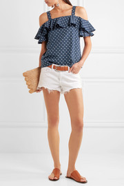 J.Crew Cold-shoulder polka-dot fil coupé cotton top