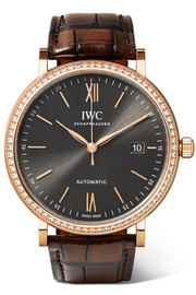 IWC SCHAFFHAUSEN Portofino Automatic 40 alligator, 18-karat red gold and diamond watch
