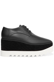 Stella McCartney Velvet-trimmed faux leather platform brogues