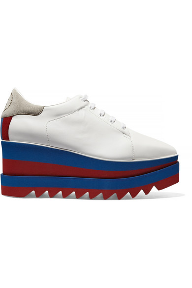 Faux Leather Platform Brogues in White