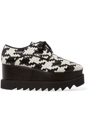 Houndstooth faux leather platform brogues