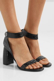 Croc-effect faux leather  sandals