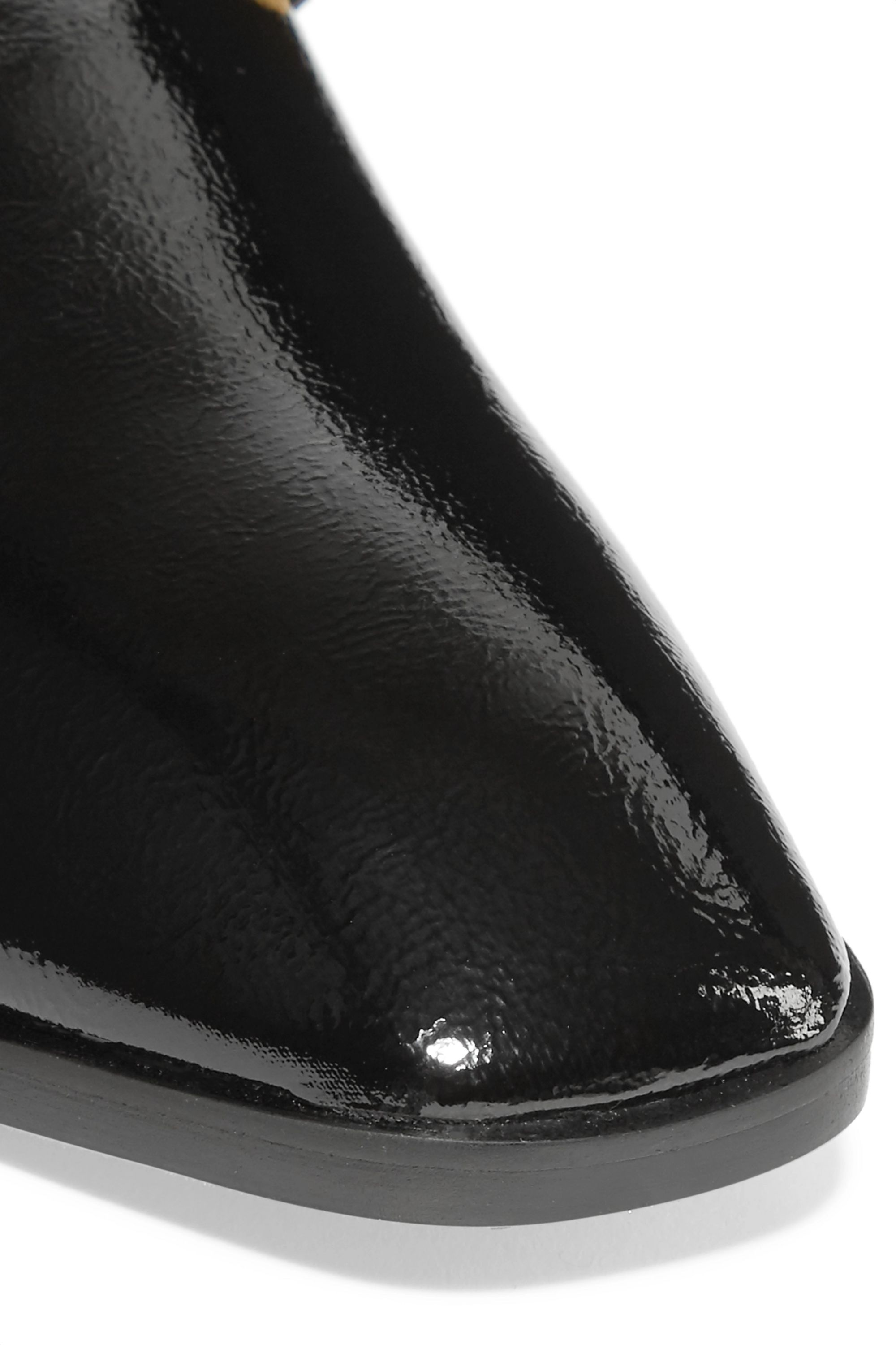 Stella McCartney Embellished faux glossed-leather slippers