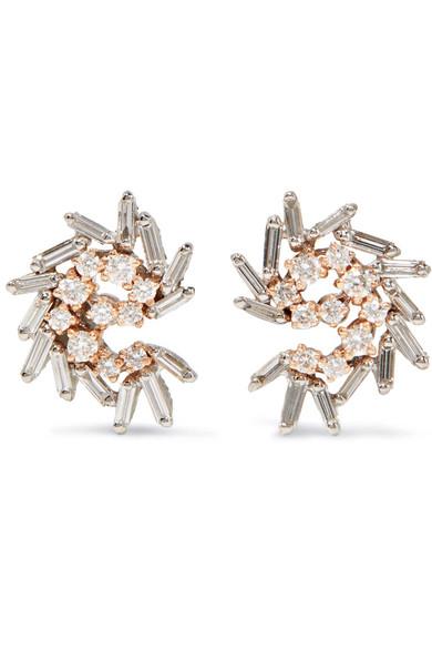 Suzanne Kalan - 18-karat White And Rose Gold Diamond Earrings