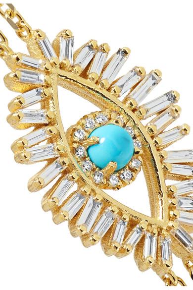 Suzanne Kalan 18-karat Gold, Diamond And Turquoise Ring