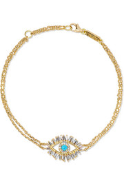 18-karat gold, diamond and turquoise bracelet