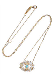 Evil Eye Fireworks 18-karat gold, diamond and turquoise necklace