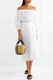 Saloni Grace off-the-shoulder broderie anglaise cotton midi dress