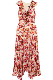 Rita ruffled printed devoré satin and chiffon midi dress