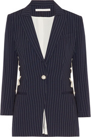 Taylor lace-up pinstriped crepe blazer