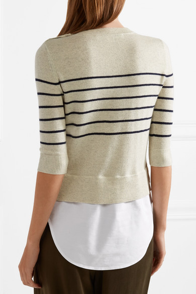 Free Shipping Best Seller Discount Good Selling Knot Cotton-paneled Striped Silk And Cashmere-blend Top - Beige Veronica Beard Online Store DrIKfwnZZ