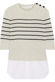 Knot cotton-paneled striped silk and cashmere-blend top