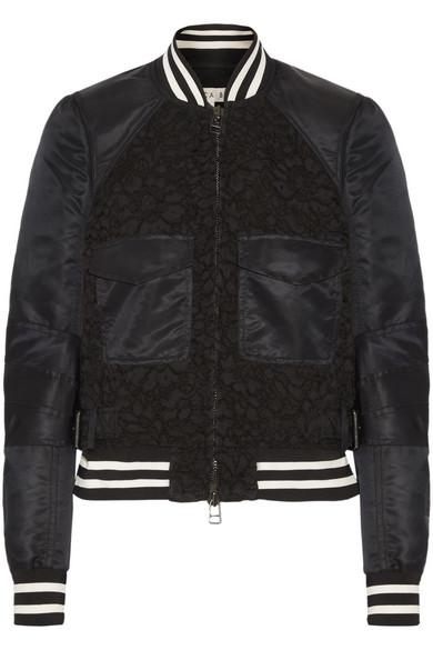 Veronica Beard - Jones Shell And Corded Lace Bomber Jacket - Black