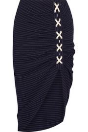 Marlow ruched striped crepe skirt