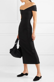 The Row Delmi off-the-shoulder stretch-jersey midi dress
