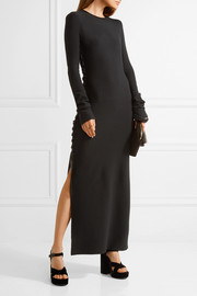 The Row Miel lace-up stretch-wool maxi dress
