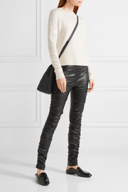 The Row Orshen ruched leather leggings