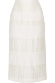 The Row Odille striped linen and silk-blend midi skirt