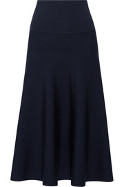 The Row Alessia stretch wool-blend midi skirt