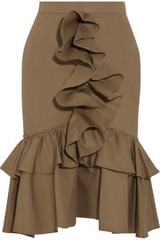 Mermaid ruffled cotton-poplin skirt