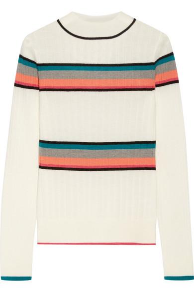 TOME - Striped Ribbed Merino Wool Turtleneck Sweater - Cream