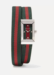 Striped canvas, leather and stainless steel watch
