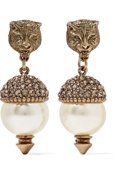 Gucci - Gold-tone, Faux Pearl And Crystal Earrings