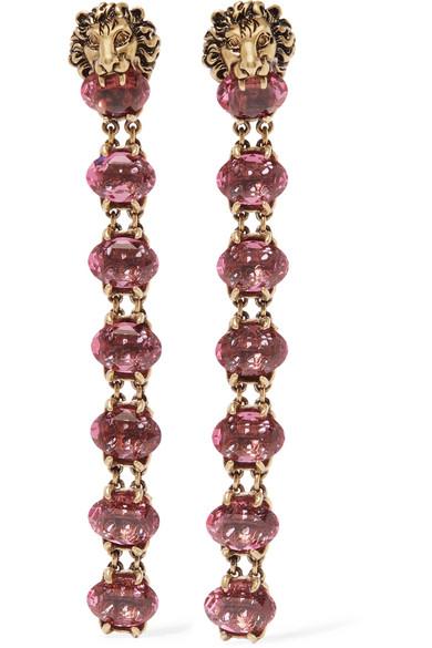 Gucci Gold-tone Crystal Clip Earrings inwIJjG