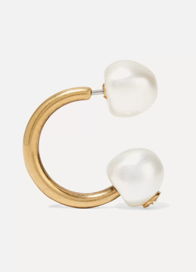 Gold-plated Faux Pearl Earring - one size Gucci cdRrK8q