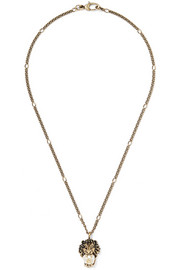 Burnished gold-tone faux pearl necklace